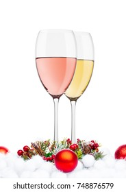 White and rose wine glasses decoration on white background