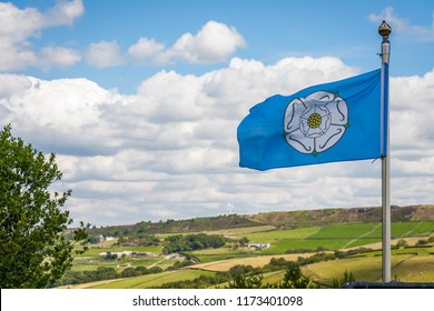 The White Rose of York flag blowing in the wind