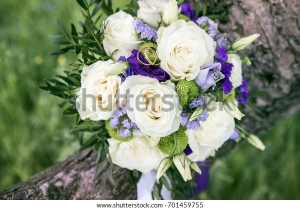 White Roses Blue Lavender Flowers Bouquet Stock Photo Edit Now