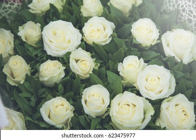 white roses at the flowers wholesale market