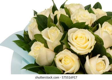 white roses on a white background closeup. Valentine's Day