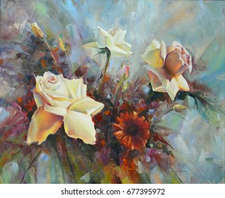 White roses painted in oil