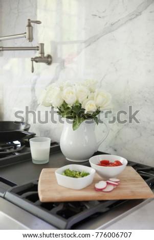 White Roses White Pitcher Vase On Stock Photo Edit Now 776006707