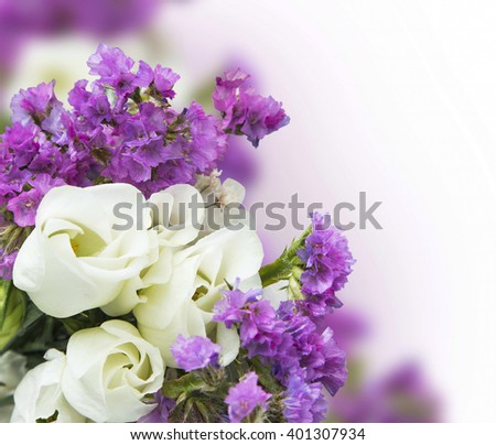 White roses purple flowers bouquet spring stock photo edit now white roses with purple flowers bouquet spring blossom bouquet mightylinksfo