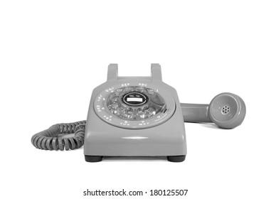 White rotary phone isolated on white