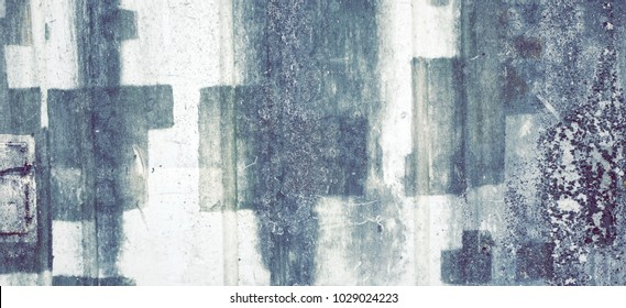White Rough Graffiti Grunge Brick Wall With Abstract Draw Pattern Horizontal Background Or Texture. Elements And Details Of Old White Urban Brickwall With Grafiti Street Art. Abstract WEB Banner
