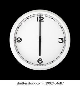 White round analog wall clock isolated on black background, its six oclock.