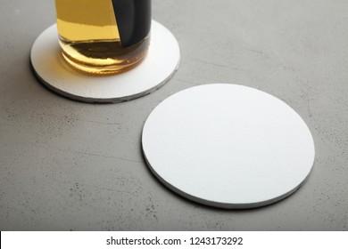 White round beer coaster. Round template mockup.