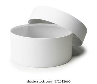 white round box isolated on white background.