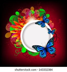 White round frame on a flower bright background with butterflies.Raster