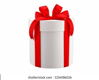 white round gift box with a red bow isolated.