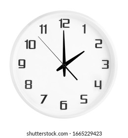 White round office clock showing two o'clock isolated on white background. Blank white clock showing 2 PM or 2 AM time