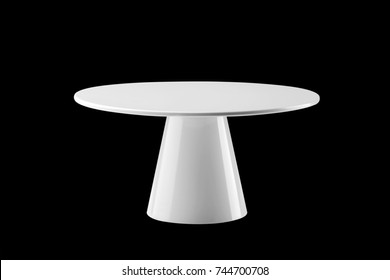 White round stand cake isolated on black background