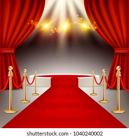 White round winners podium with red carpet, red curtains and spotlights. Realistic illustration. Red carpet event concept.