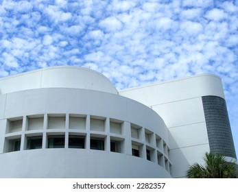 White rounded building in Miami, Florida