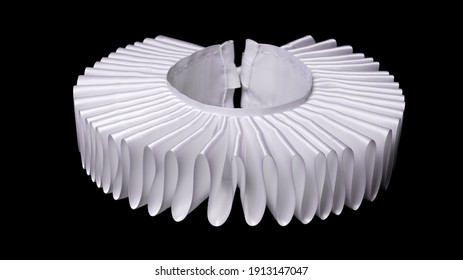 white ruff or ruffled or millstone collar isolated on black background - historic renaissance fashion