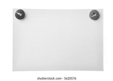 white rumpled paper  tack thumbtack white background