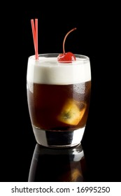 White russian cocktail isolated on a black background