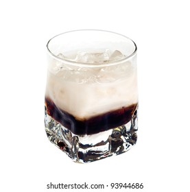 White russian cocktail isolated on white background
