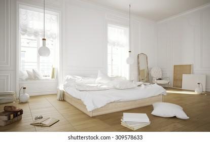 White rustic bedroom 3D render