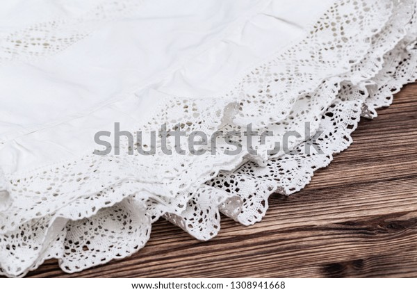 White Rustic Lace Background On Wooden Stock Photo (Edit Now