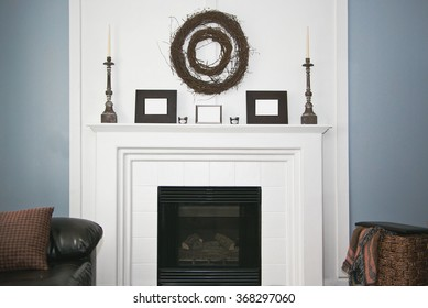 White Rustic Modern decorated fireplace and mantel