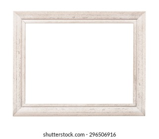 White rustic picture frame isolated on white