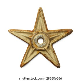 White Rusty Metal Star Isolated On Background