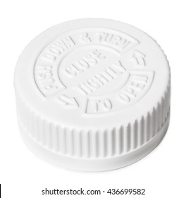 White safety cap for pill bottle isolated on white background with clipping path