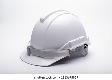 White safety helmet construction on white background
