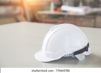 white safety helmet hat for worker and engineer at construction site