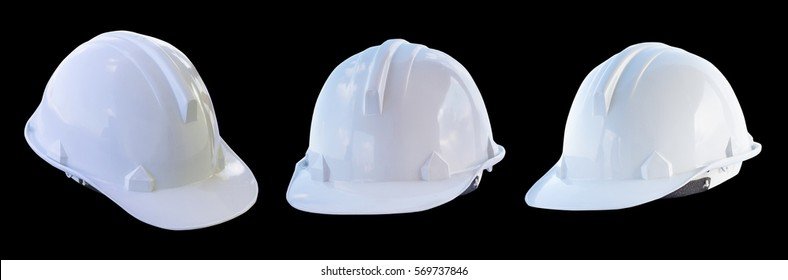 The white safety helmet isolated with black background