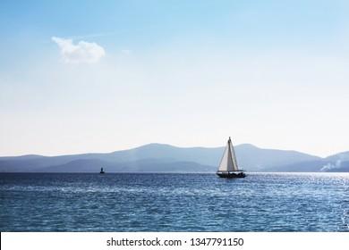 White sailboat in Adriatic Sea.