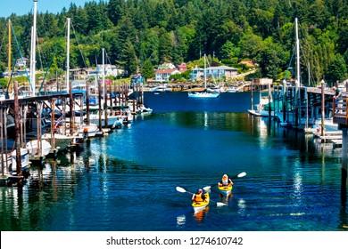 White Sailboats Marina Kayaks Reflection, Gig Harbor, Pierce County, Washington State