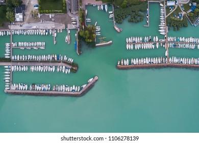 White sailing boats in Lake Balaton, drone top view
