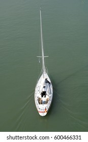 White sailing yacht from above
