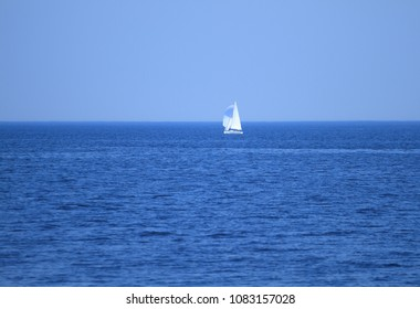 The white sails of yachts on the background of sea