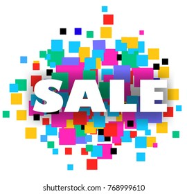 White sale sign holiday over confetti background.
