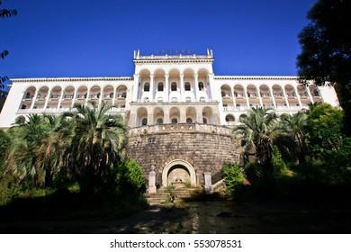 White sanatorium in the Empire-architectural style on the sea
