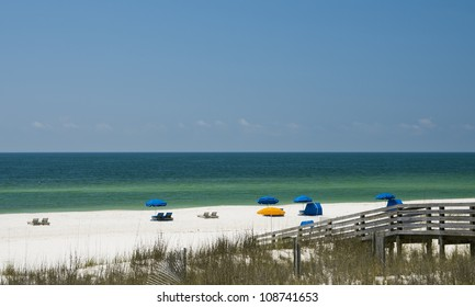 The white sand beach of the Alabama Gulf Coast.