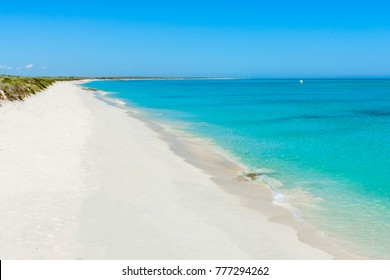 White sand beach of the Ambatomilo lagoon in South West of Madagascar.
