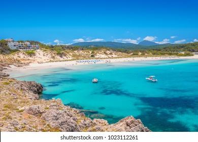 White Sand Beach at Arenal de Son Saura, Menorca Island, Spain.