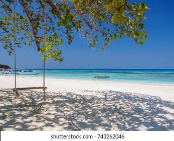 White sand beach with beautiful sea and clear blue sky at Similan Islands (Mu Ko Similan), Phang Nga Province, Thailand.