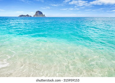 White sand beach and clear blue water, Ibiza, Spain