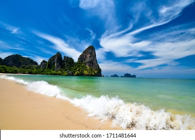 The white sand beach with clear sea water at Railay beach , Krabi ,Thailand.