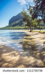 White sand beach and Le Morne Brabant mountain, Mauritius Island. Ile Maurice.