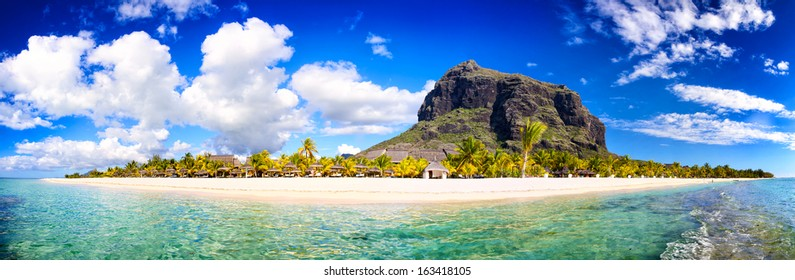 White sand beach and Le Morne Brabant mountain, Mauritius beach panorama