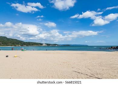 white sand beach in miyazaki, Japan.