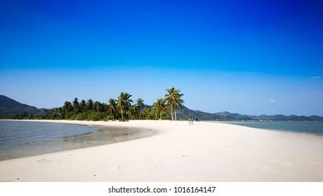 White sand beach on blue sky day at Laem Haad , Koh Yao Yai , Phang-nga , Thailand