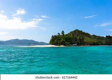 White sand beach on a deserted island. Beautiful Landscape at Andaman And Nicobar